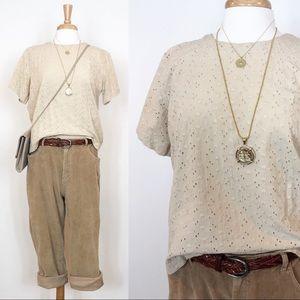Vintage Eyelet Cotton Short Sleeve Top • M